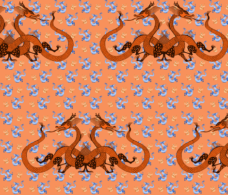 Orange Chinese Dragons fabric by eva_the_hun on Spoonflower - custom fabric
