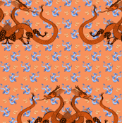 Orange Chinese Dragons