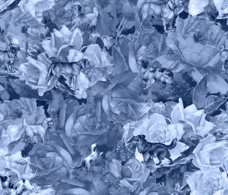 Dogs and Roses Blue fabric by dentednj on Spoonflower - custom fabric