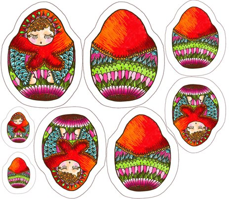 Poup e russe 2 fabric nadja petremand spoonflower for Poupee russe