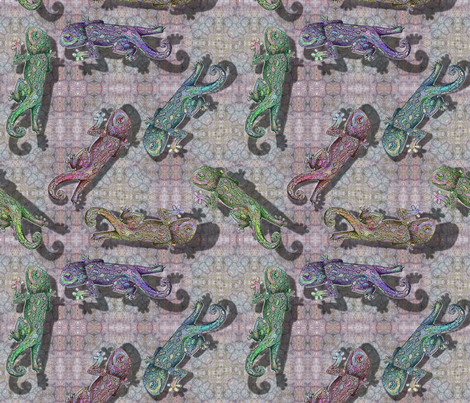 Rainbow Gecko - group 4 fabric by vickijenkinsart on Spoonflower - custom fabric
