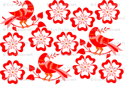 red birds in red blossoms
