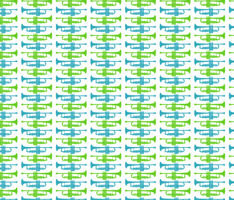Blue and Green Trumpets fabric by marchingbandstuff on Spoonflower - custom fabric