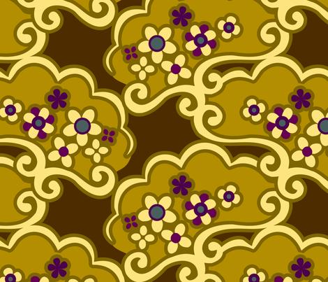 Mustard Japan Memories fabric by renule on Spoonflower - custom fabric