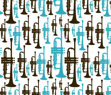 Blue and Brown Trumpets fabric by marchingbandstuff on Spoonflower - custom fabric