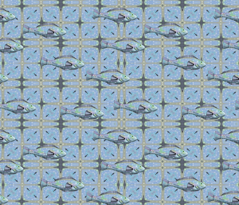 Bait and Tackle - fish pattern 4 fabric by vickijenkinsart on Spoonflower - custom fabric