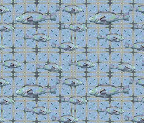 Bait and Tackle - fish pattern 3 fabric by vickijenkinsart on Spoonflower - custom fabric