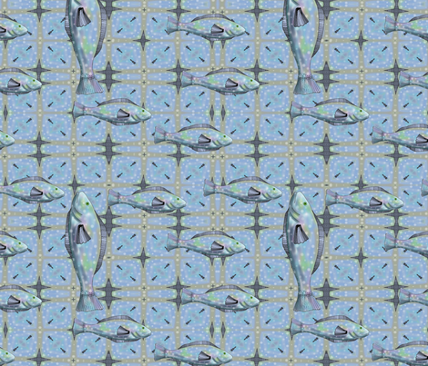 Bait and Tackle - fish pattern 2 fabric by vickijenkinsart on Spoonflower - custom fabric