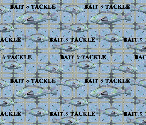Bait and Tackle - fish pattern 1 fabric by vickijenkinsart on Spoonflower - custom fabric