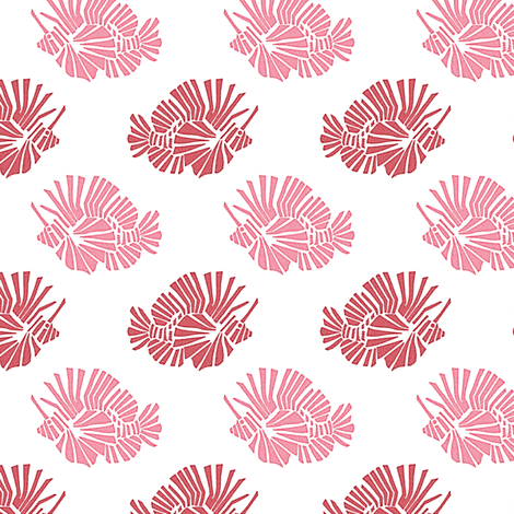 Lionfish Party Pink fabric by kristopherk on Spoonflower - custom fabric