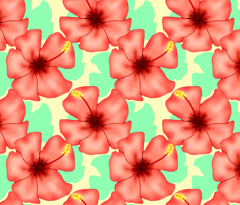 Hibiscus fabric by cricketnoel on Spoonflower - custom fabric