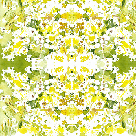 "C'EST LA VIVâ""¢ Garden Lark Collection_YELLOW AND WHITE  fabric by cest_la_viv on Spoonflower - custom fabric"