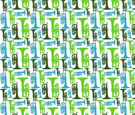 Mellophones - blue and green fabric by marchingbandstuff on Spoonflower - custom fabric