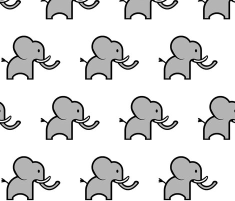 Cute Elephant fabric by mandollyn on Spoonflower - custom fabric