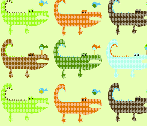 Argyle Alligators - rough colorway XL fabric by petunias on Spoonflower - custom fabric