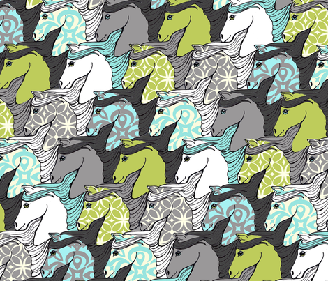 Wild Horses Tessellation fabric by mytinystar on Spoonflower - custom fabric