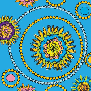 flower doodles in brights