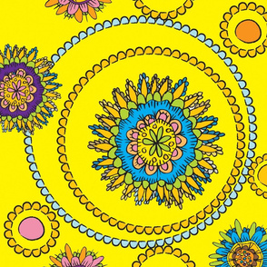 doodle flowers yellow and brights