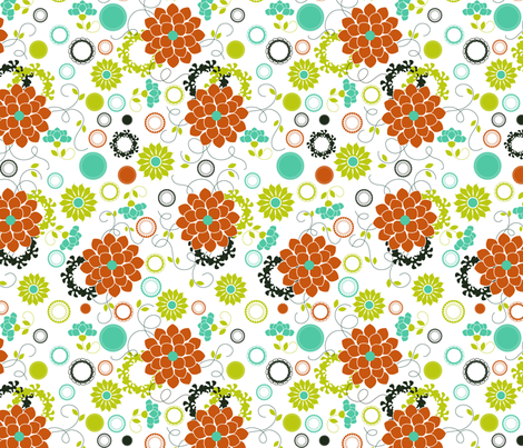 Zinnia Garden fabric by eedeedesignstudios on Spoonflower - custom fabric