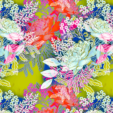 Bohemian Roses in blue fabric by joanmclemore on Spoonflower - custom fabric