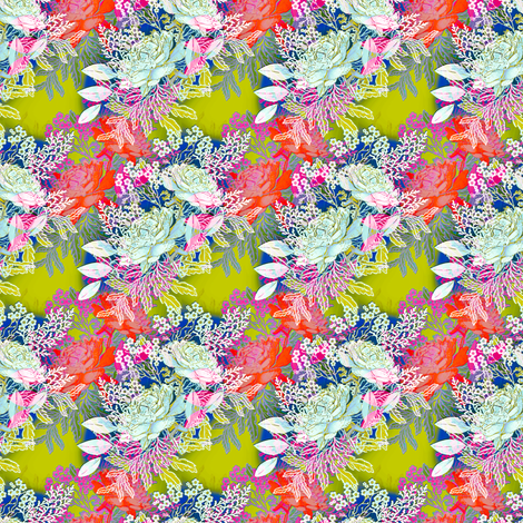 Doll Bohemian Roses in blue fabric by joanmclemore on Spoonflower - custom fabric
