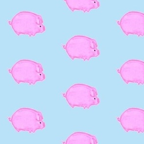 Pink Pig on Blue