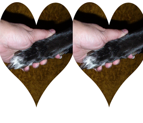 Paw in hand in heart fabric by 2nofleas on Spoonflower - custom fabric