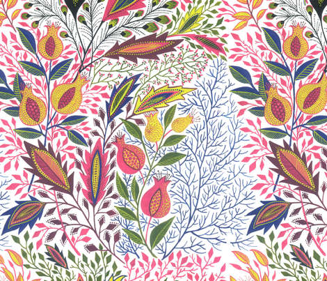 pomegranate and oak leaves fabric by eva_the_hun on Spoonflower - custom fabric