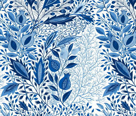 pomegranate0101-blue fabric by eva_the_hun on Spoonflower - custom fabric