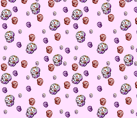 Baby Calaveras in Pink fabric by squarejane on Spoonflower - custom fabric