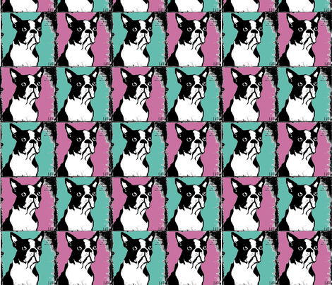 Boston Terriers Rule in Teal and Pink fabric by squarejane on Spoonflower - custom fabric