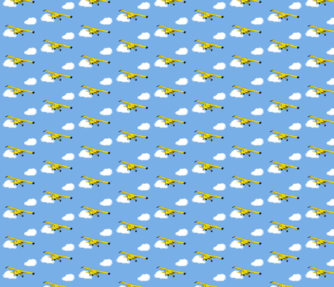 Grandpa's Yellow Airplane fabric by winter on Spoonflower - custom fabric