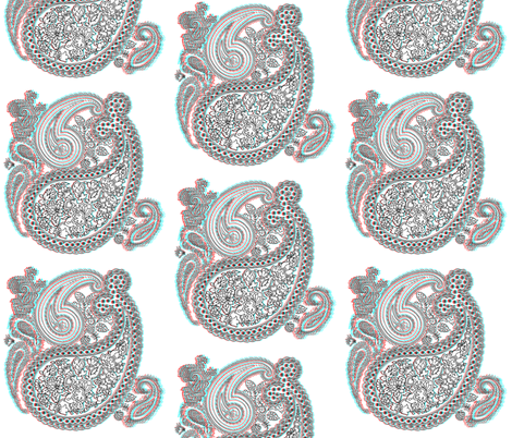 3D VictoriAnaglyph Paisley - Miss Mattie fabric by peacoquettedesigns on Spoonflower - custom fabric