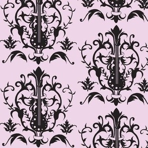Light Purple Guitar Damask