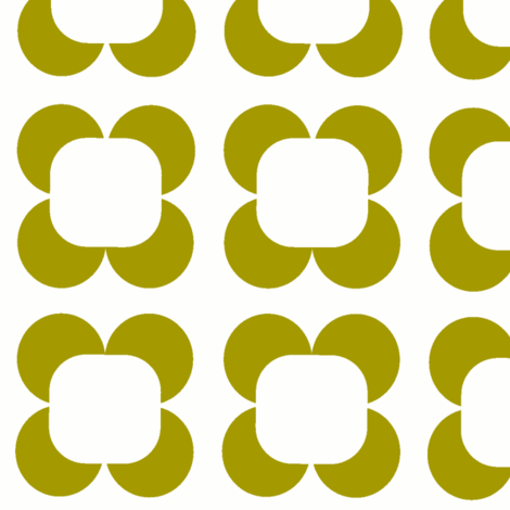 Retro Petals in pea green  fabric by lana_kole on Spoonflower - custom fabric