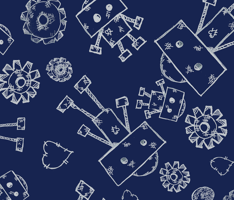 Robot Blue Print fabric by ally&lucie on Spoonflower - custom fabric