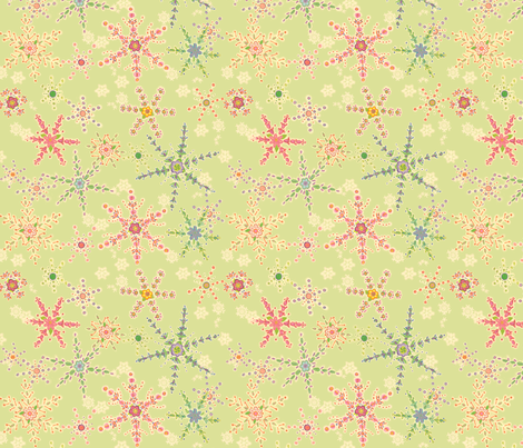 Snowflower Green fabric by juliamonroe on Spoonflower - custom fabric