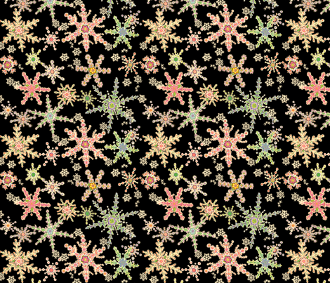 Snowflower Black fabric by juliamonroe on Spoonflower - custom fabric