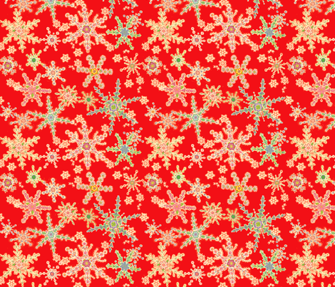 Snowflower Red fabric by juliamonroe on Spoonflower - custom fabric