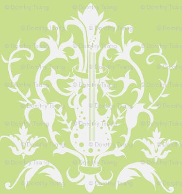 Golden Lime Guitar Damask