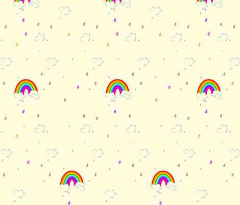 Taste the Rainbow Colored Rain! - © PinkSodaPop 4ComputerHeaven.com fabric by pinksodapop on Spoonflower - custom fabric