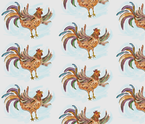 Water Color Rooster fabric by toni_elaine on Spoonflower - custom fabric