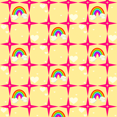 Your Superstar Heart - Chance of Rainbows! - © PinkSodaPop 4ComputerHeaven.com fabric by pinksodapop on Spoonflower - custom fabric