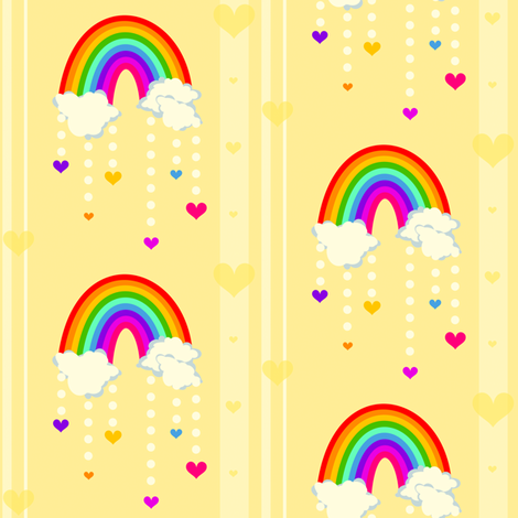 Love Stripes - Chance of Rainbow Rain! -  © PinkSodaPop 4ComputerHeaven.com fabric by pinksodapop on Spoonflower - custom fabric