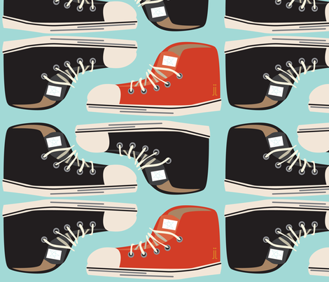 shoes on blue fabric by junej on Spoonflower - custom fabric