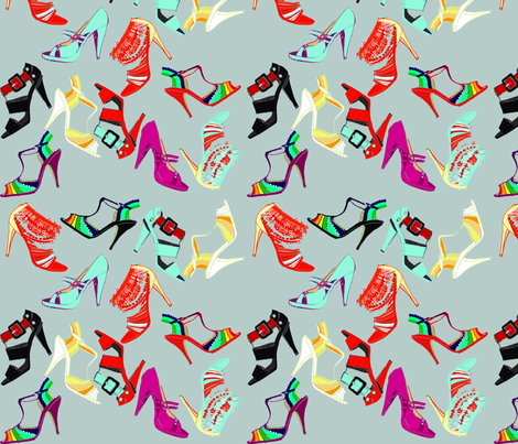 Fun shoes_grey fabric by gigimoll on Spoonflower - custom fabric