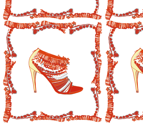 Red shoe frame fabric by gigimoll on Spoonflower - custom fabric