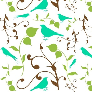 Swirly Bird Large Print Multi White