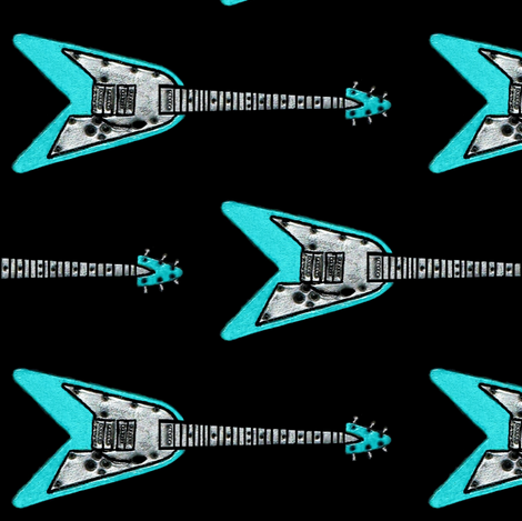 FOREVER ROXZ  #1 flying V fabric by paragonstudios on Spoonflower - custom fabric