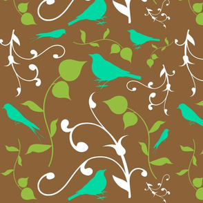 Swirly Bird Large Print Multi Brown